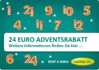 Sunny Cars 10 % Rabatt / 20 € zum Advent
